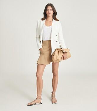 Reiss Luna - Mini Skirt With Frill Hemline in Camel