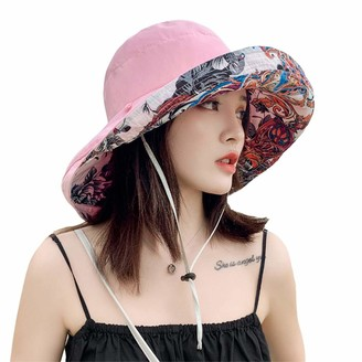 goneryisour Boho Ethnic Women Floral Reversible Sun Hat - Foldable Large Wide Both Side Wear Travel Floppy Beach Cap Sun Hat with Chin Strap Pink