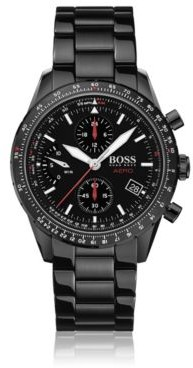 Chronograph watch in black-plated stainless steel