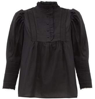 Sea Silvia Puff Sleeve Cotton Blouse - Womens - Black