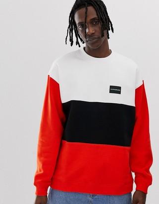 Calvin Klein Jeans colour block crew neck sweatshirt-Orange