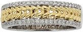 JCPenney MODERN BRIDE 1/4 CT. T.W. Diamond Leaf 14K Two-Tone Gold Wedding Band
