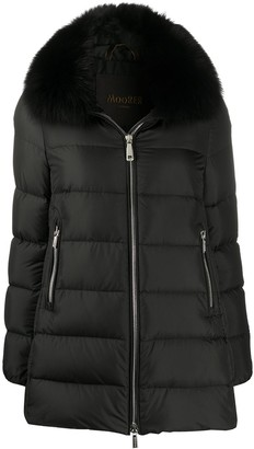 Moorer Dorado fur-trimmed quilted coat