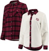 Unbranded Women's Maroon/Cream Texas A&M Aggies Reversible Sherpa Flannel Long Sleeve Button-Up Shirt