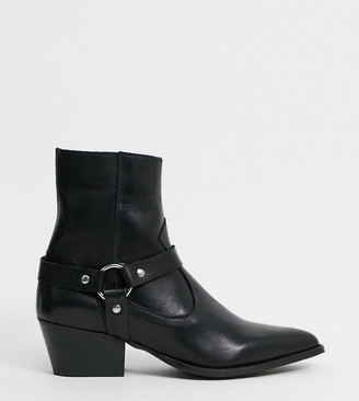 Depp wide fit leather boots with harness detail in black
