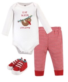 Hudson Baby Baby Girls and Boys Christmas Sloth Bodysuit, Pant and Shoe Set, Pack of 3