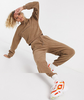 ASOS DESIGN tracksuit fleece top with half zip / slim jogger in fawn