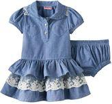 Nannette Baby Girl Chambray Tiered Skirt Dress