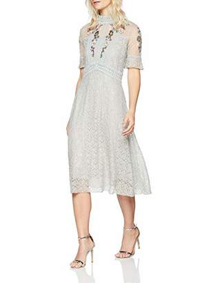 Frock and Frill Women's Embroidered lace high Neck Dress Party (Pearl Blue Ff)