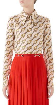 Gucci Stirrups Print Silk Twill Blouse