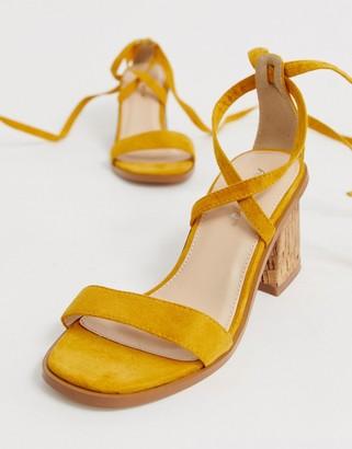 Public Desire Vogue yellow ankle tie cork heeled sandals