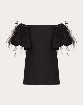 Valentino Short Embroidered Crepe Couture Dress Women Black Virgin Wool 65%, Elastane 35% 38