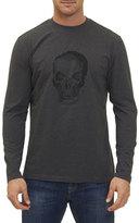 Robert Graham Bandits Skull-Embroidered Long-Sleeve T-Shirt, Charcoal