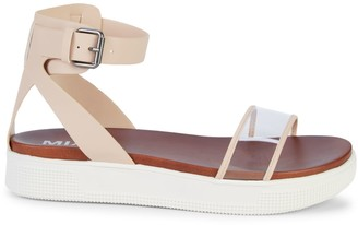 Mia Ellen Translucent-Strap Flatform Sandals