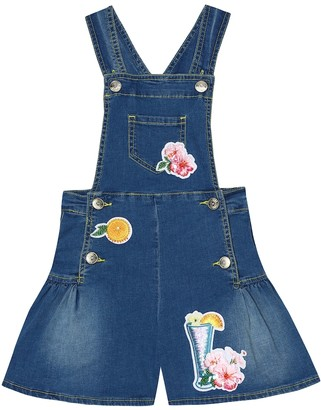MonnaLisa Appliqued stretch-denim playsuit