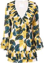 C/Meo paisley ruffle mini dress