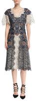 Jonathan Simkhai Dimensional Lurex®; Flutter-Sleeve Lace Midi Dress