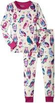 Hatley Happy Owls Pajama Set (Toddler/Kid) - White - 4