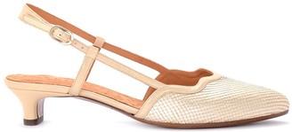 Chie Mihara Rafia Platinum Laminated Leather Heeled Sandal