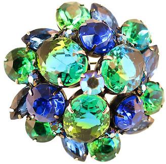 One Kings Lane Vintage 1950s Kramer Sapphire Emerald Brooch - Neil Zevnik - gray/blue/green