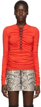 Unravel Red Front Lace Up Long Sleeve T-Shirt