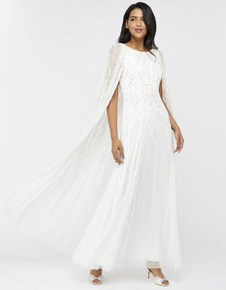 Under Armour Naomi Bridal Embellished Cape Maxi Dress Ivory