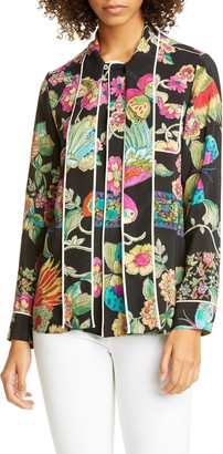 RED Valentino Butterfly & Floral Print Silk Blouse