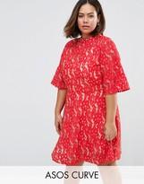 Asos Kimono Sleeve Mini Skater Dress in Lace