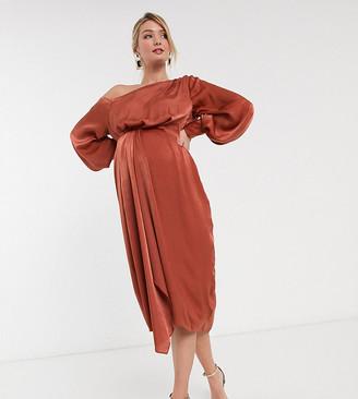 ASOS DESIGN Maternity one shoulder blouson midi dress in washed satin