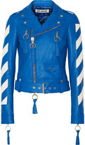 Off-White Cropped Tasseled Leather Biker Jacket - Bright blue