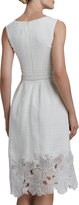 Oscar de la Renta Belted Eyelet-Hem Dress
