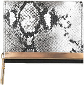 Yours Clothing Black & White Faux Snakeskin Small Purse With Metal Trim Detail