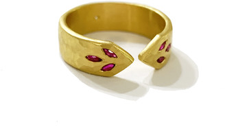 Cathy Waterman Ruby Thinner Point Band Ring - Yellow Gold