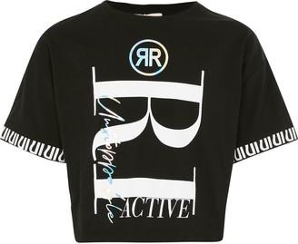 River Island Girls RI Active Black printed crop T-shirt