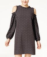 City Studios Juniors' Printed Ruffle-Trim Cold-Shoulder Dress