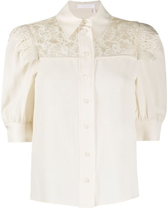 See by Chloe Puff-Sleeve Lace Blouse