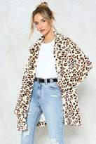 Nasty Gal nastygal No Hard Felines Leopard Faux Fur Coat