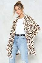 Nasty Gal No Hard Felines Leopard Faux Fur Coat