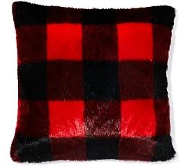 Bloomingdale's Red Plaid Faux Fur Decorative Pillow, 18 x 18 - 100% Exclusive