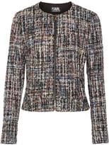 Karl Lagerfeld Metallic Bouclé-tweed Jacket - Black