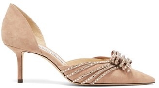 Jimmy Choo Katience Embellished Suede D'orsay Pumps - Nude