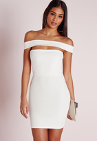 Missguided Cut Out Panel Bardot Bodycon Dress White