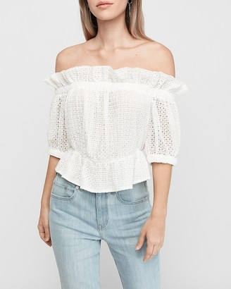 Express Off The Shoulder Ruffle Eyelet Lace Cropped Top