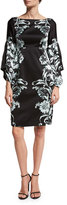 Nanette Lepore Floral Silk Satin Cocktail Dress, Black/Blue