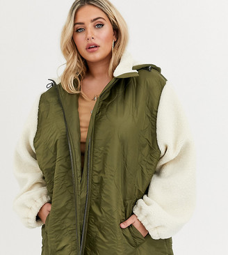 Asos DESIGN Curve quilted jacket with borg sleeves-Green