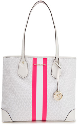 MICHAEL Michael Kors Eva Large Striped Logo-print Faux Leather Tote