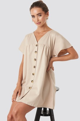 NA-KD Button Detail Loose Fit Mini Dress Beige