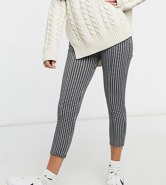 Miss Selfridge Petite ponte pants in black check