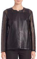 Lafayette 148 New York Pascale Laser-Cut Leather Jacket