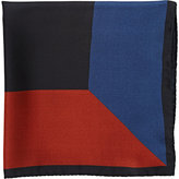 Barneys New York Men's Geometric Silk Pocket Square-BLACK